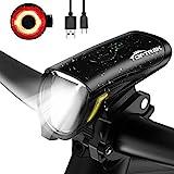 toptrek Fahrradlicht Set 70/30Lux Licht-Modi LED Fahrradbeleuchtung IPX5 Wasserdicht Fahrradlampe USB Wiederaufladbare Fahrrad Licht Einschließen Frontlicht Und Rücklicht