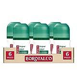 Borotalco, Roll-On Original Deodorant mit Mikro-Pulver, absorbiert Schweiß, ohne Alchol – 6 Flaschen à 50 ml