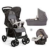Hauck Shopper SLX Trio Set 3 in 1 Kinderwagen bis 25 kg + Babyschale + Babywanne mit Matratze ab Geburt, Buggy mit Liegefunktion, Getränkehalter, leicht, klein faltbar, stone grey (grau)