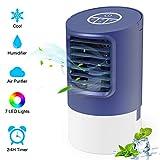 Verdunstungskühler Luftkühler, TedGem Klimagerät Wasserkühlung, Verdunstungskühler Mini, Air Cooler Klimagerät, 3 Geschwindigkeiten, 7 LED-Leuchten mit Tragbarem Griff für Zuhause und Büro (Blau)