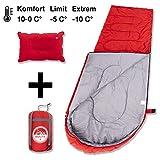 BOLTX Camping Schlafsack inkl. aufblasbarem Kopfkissen | 1300g leichter Outdoor Deckenschlafsack, Komfort 0-10°C, für Kinder, Erwachsene, 210 x 75 cm
