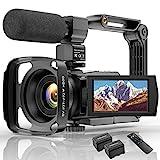 Videokamera 4K WiFi Full Hd Video Camcorder mit Mikrofon YouTube Vlogging Digitalkamera,IR Nacht 48MP16X Digital Zoom 3,0 Zoll 270 ° Drehbarer Touchscreen Kamerarecorder mit Fernbedienung.