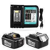 ENERGUP 2 Stück 18V 5.5Ah Ersatzakku mit 3A Ladegerät für Makita 18V akkus BL1850 BL1840 BL1830 BL1820 BL1815 BL1860 Werkzeug Akku mit LED Indikator