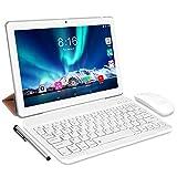 Tablet Android 10.0 - TOSCIDO Tablets 10 Zoll 4 GB/RAM,64 GB/ROM Tablet PC,5000mAh Akku,Dual SIM,WiFi Unterstützung Bluetooth Tastatur |Maus|X109 Tablet Cover und Mehr Enthalten - Silver