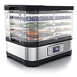 Arendo - Dörrautomat mit Temperaturregler - Edelstahl Dörrgerät für Lebensmittel Fleisch Früchte Gemüse - 260 W - mit Timer bis zu 72 h - 35-70 Grad - 5 Einlegefächer - GS - Dehydrator - BPA frei