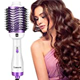 Damenie Ionen-Haartrockner, Upgrade 5 in 1 Stylingbürste Hair Dry Volumizer Hairstyler Heißluftbürste Negativer Lonic Föhnbürste Haarglätter Bürste Kamm Lockenbürste für Alle Styling(Weiß Lila)