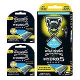 Wilkinson - Pack Sword Hydro 5 + 8 Energizer Mint Rasierklingen. 5-Klingen-Rasierer mit Stoßdämpfungstechnologie