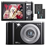 FamBrow Digitalkamera 2,88 Zoll 44 Megapixel 2.7K Mini Digitalkameras mit 16X Digitalzoom Kompakte Digitalkamera mit 2 Batterien (Black)