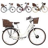 FISCHER E-Bike Retro ER 1804, Elektrofahrrad, beige, 28 Zoll, RH 48 cm, Vorderradmotor 20 Nm, 36 V Akku