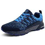 SOLLOMENSI Laufschuhe Damen Herren Sportschuhe Straßenlaufschuhe Sneaker Joggingschuhe Turnschuhe Walkingschuhe Schuhe 44 EU A Blau